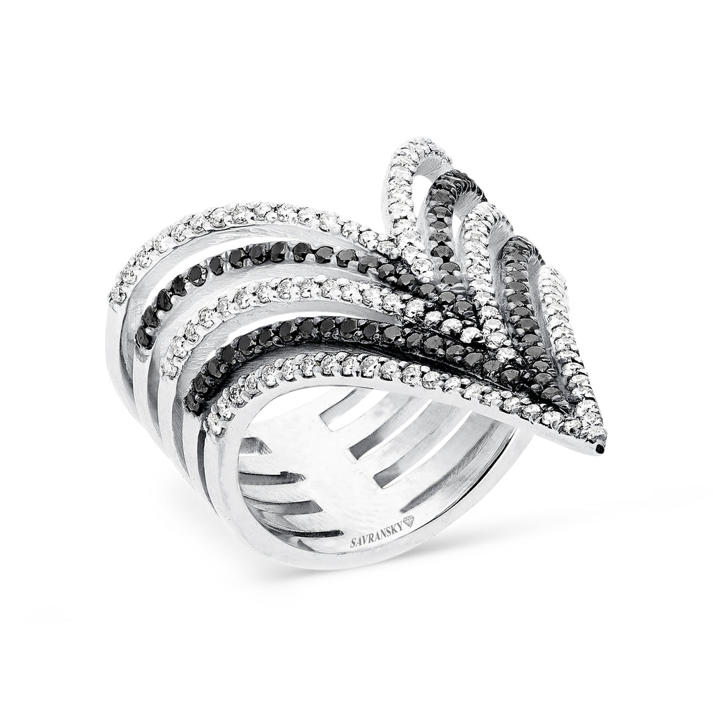 Multi Layer V Shape Stacking Ring In Salt and Pepper