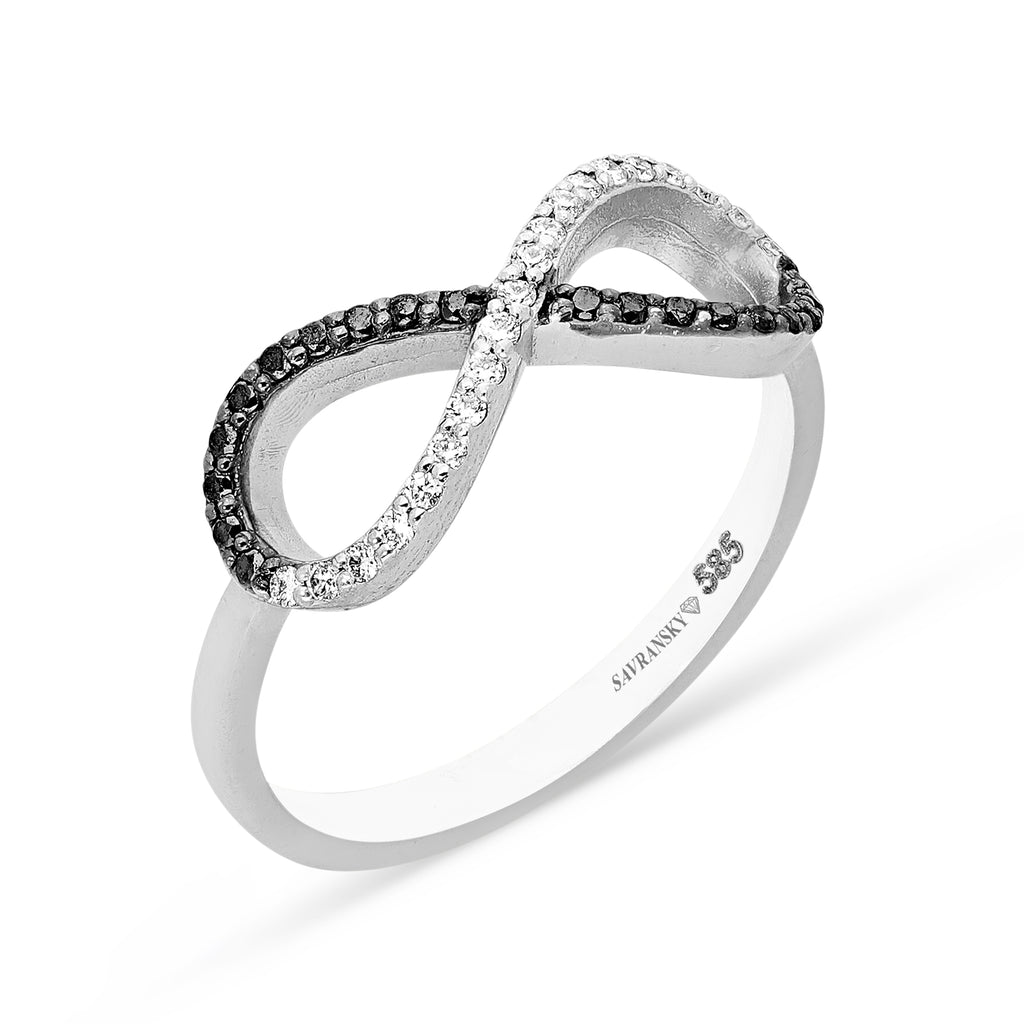 Salt and Pepper Diamond Infinity Ring