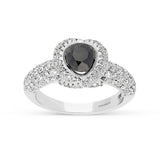 0.65 carat center black diamond ring