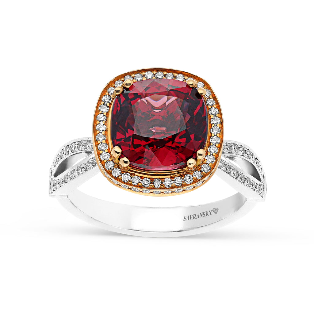 Cushion Cut Natural Red Spinel Ring Featuring a Pave Diamond Halo and Infinity Band