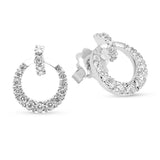 Graduating Diamond Open Circle Drop Earrings