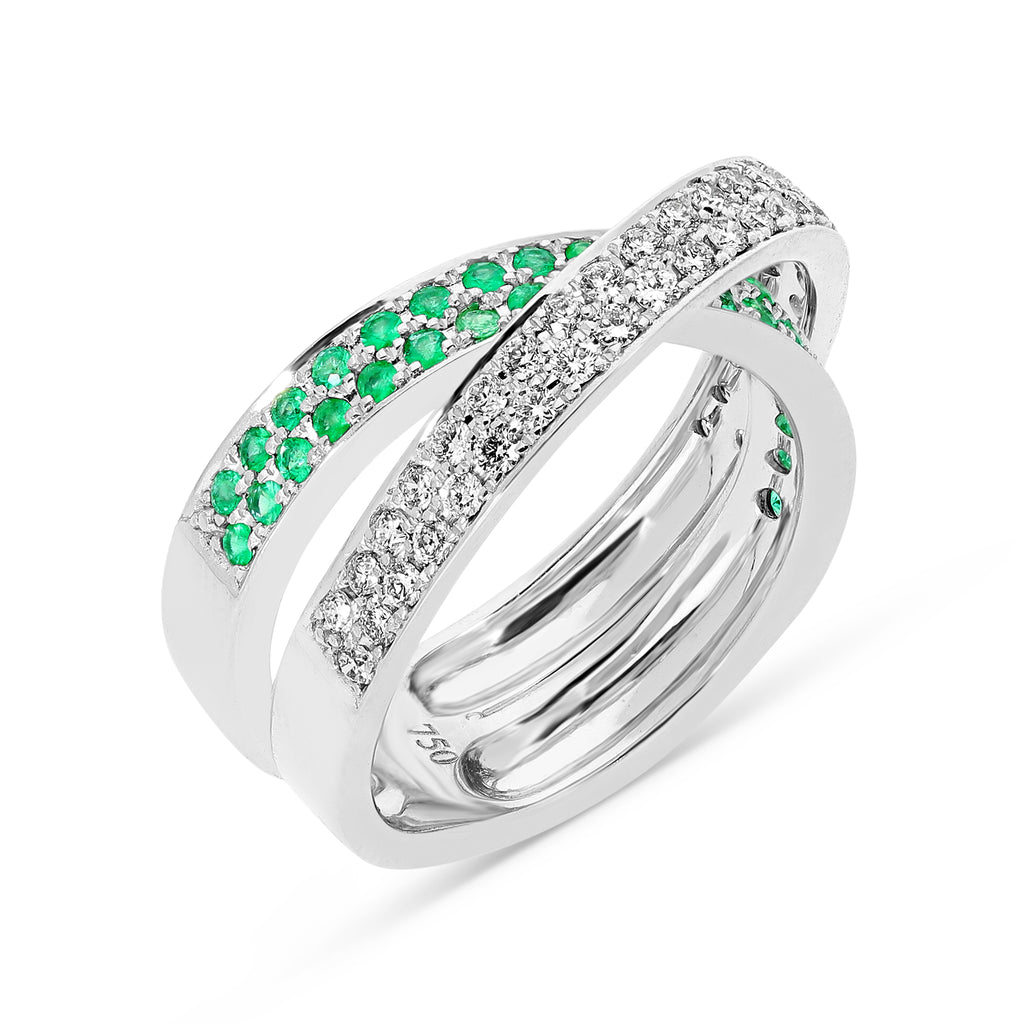 Emerald and White Diamond Crossover Ring