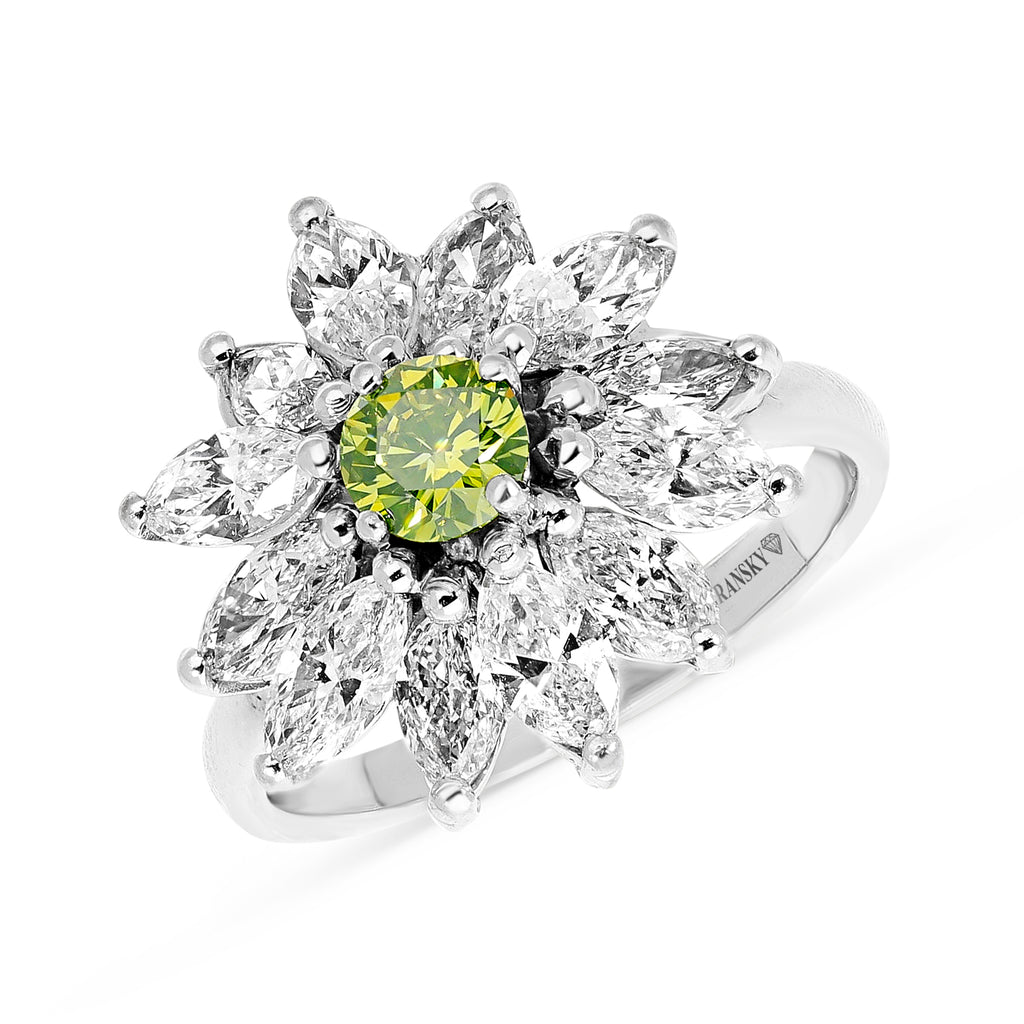 Green tourmaline Marquise cut diamond Flower Ring