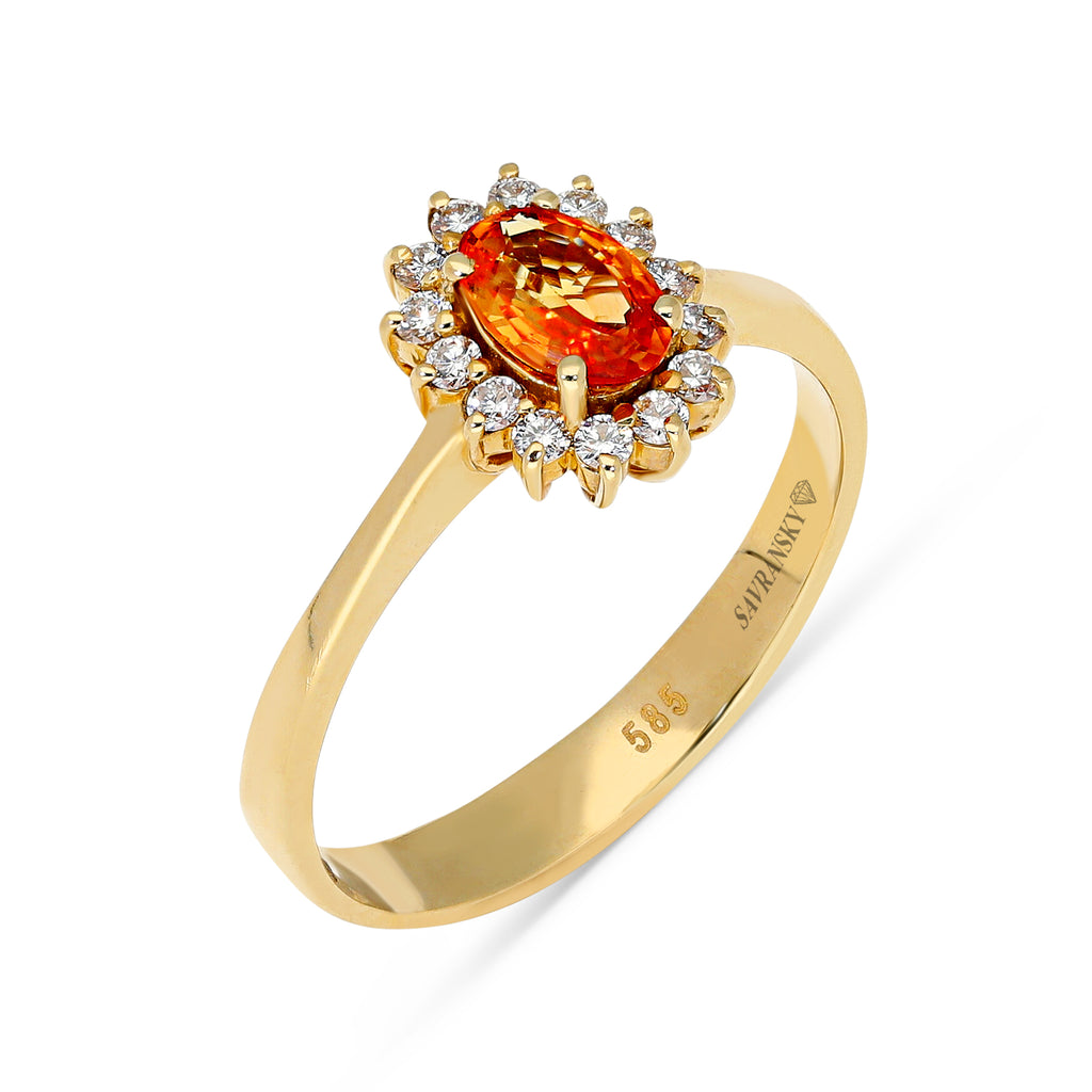 Oval Cut Orange Sapphire Flower Shaped Halo Ring