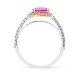 Oval Cut Pink Sapphire with Pink and White Pave Diamond Ring