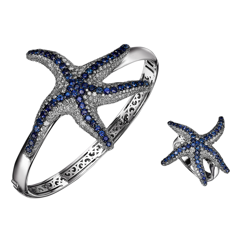 Blue Sapphire and Diamond Starfish Ring