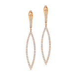 Rose Gold Diamond Pave-Lined Open Marquise Shaped Dangling Earrings