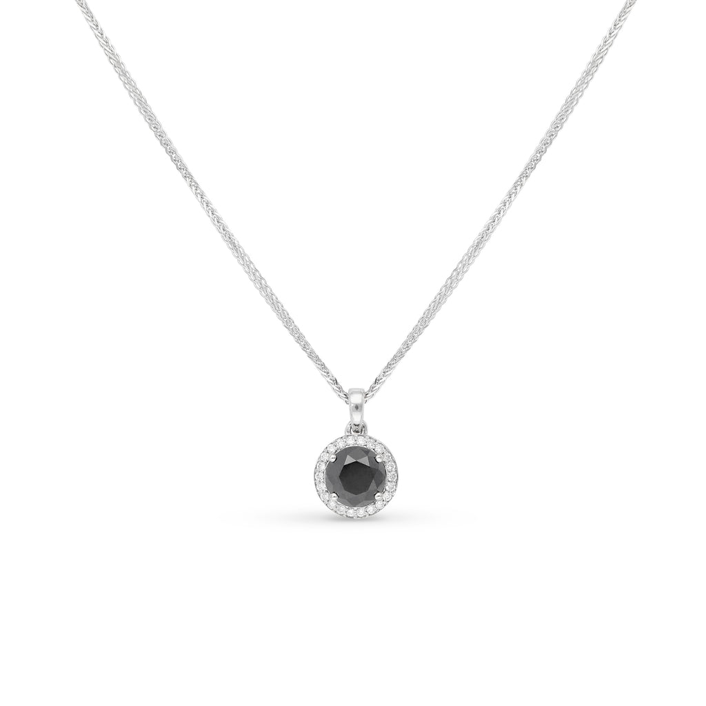 1.69 Classic Black halo diamond pendant set in 18K white gold
