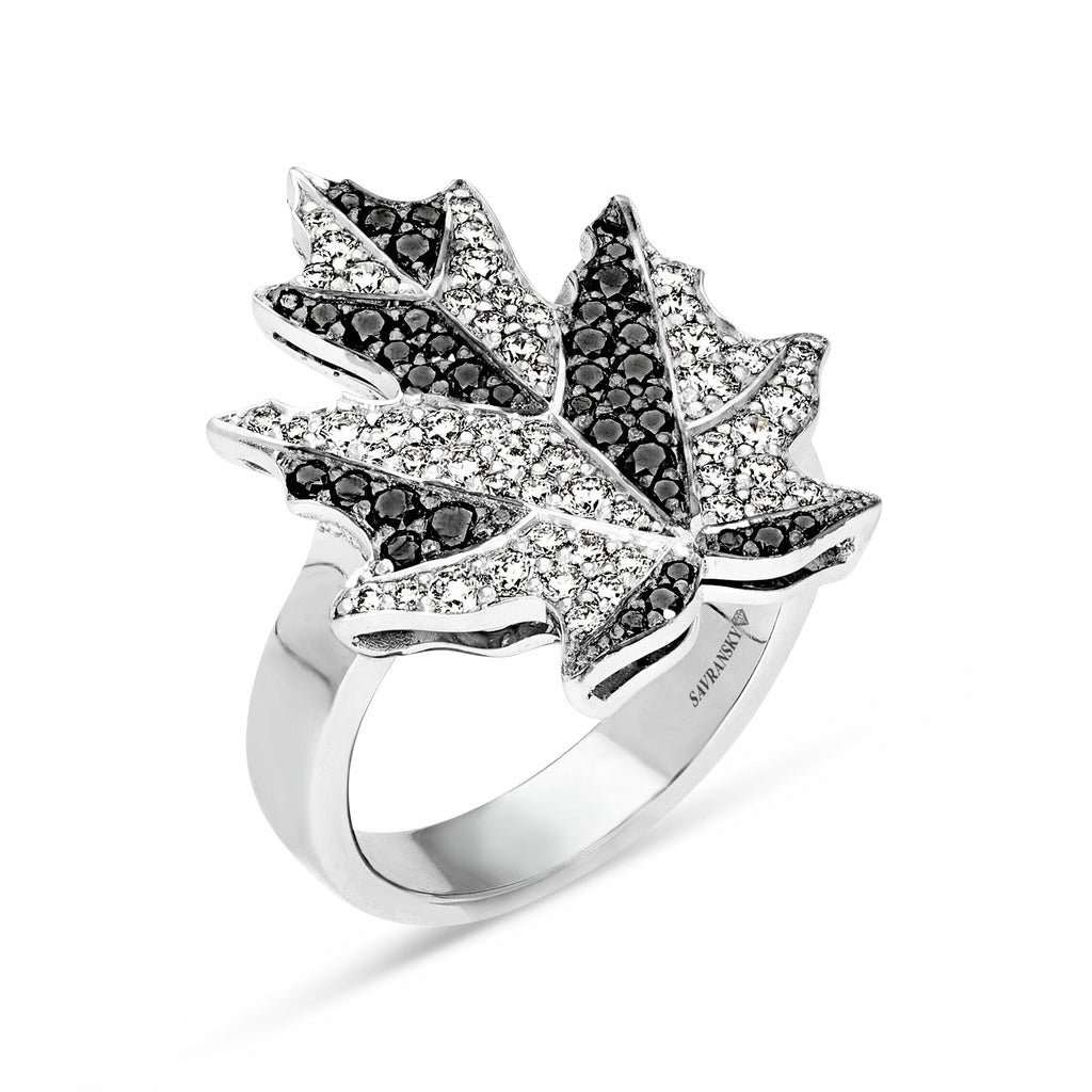 Maple Leaf Ring in Salt and Pepper Diamonds