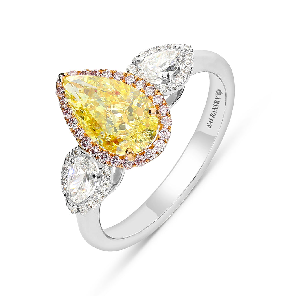 Fancy Yellow Pear Shape Three Stone Engagement Ring