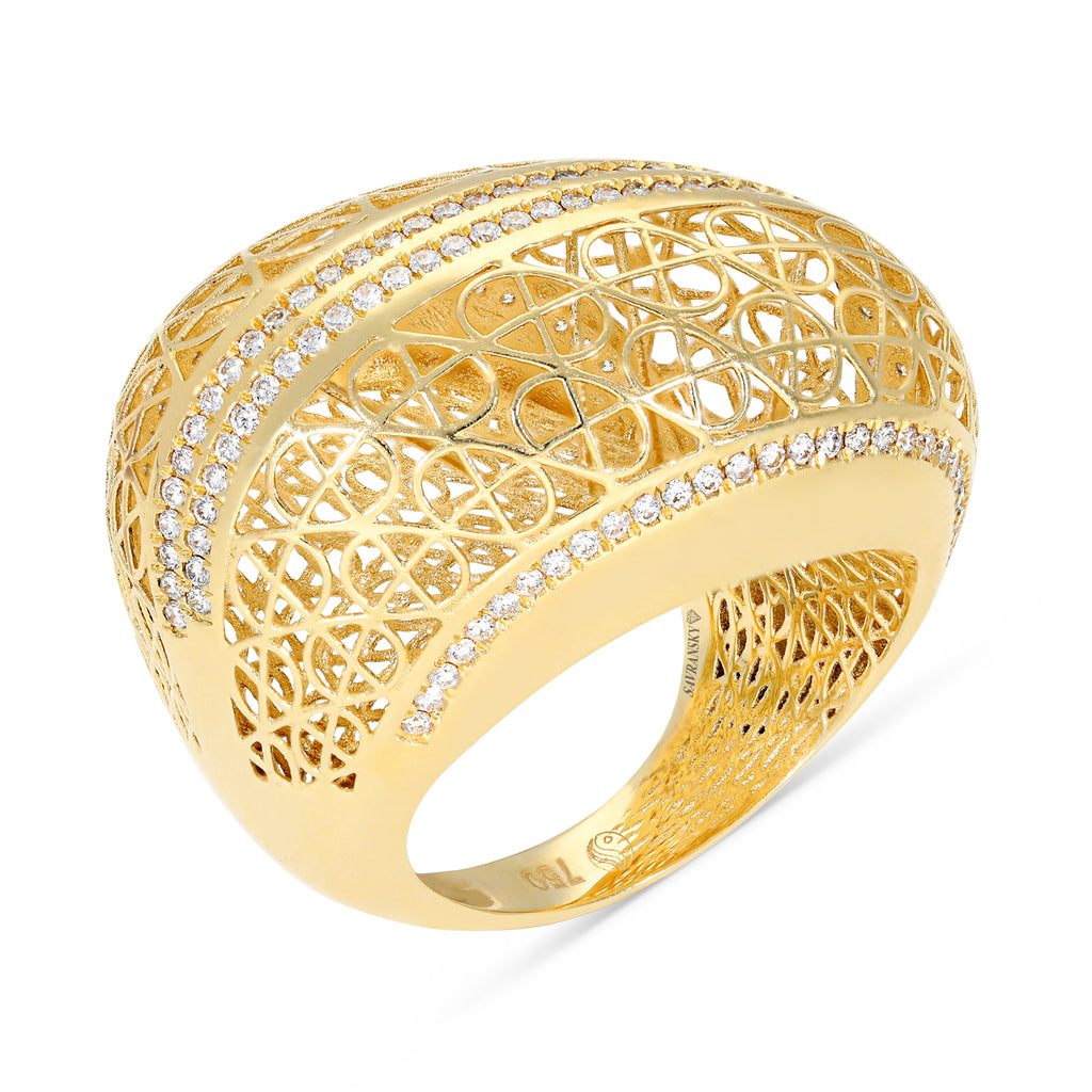 Yellow Gold Filigree Dome Ring