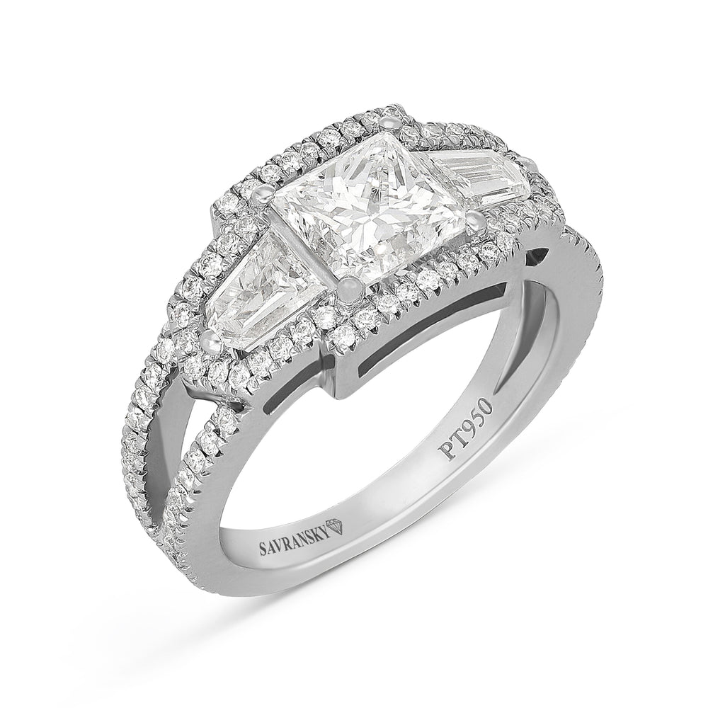 Three Stone Trillion And Pave Princess Cut Diamond Engagement Ring
