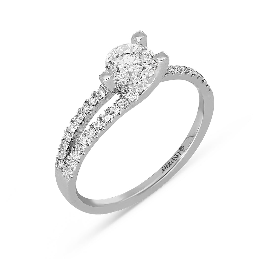 Unique Three Prong diamond  Solitaire Engagement Ring