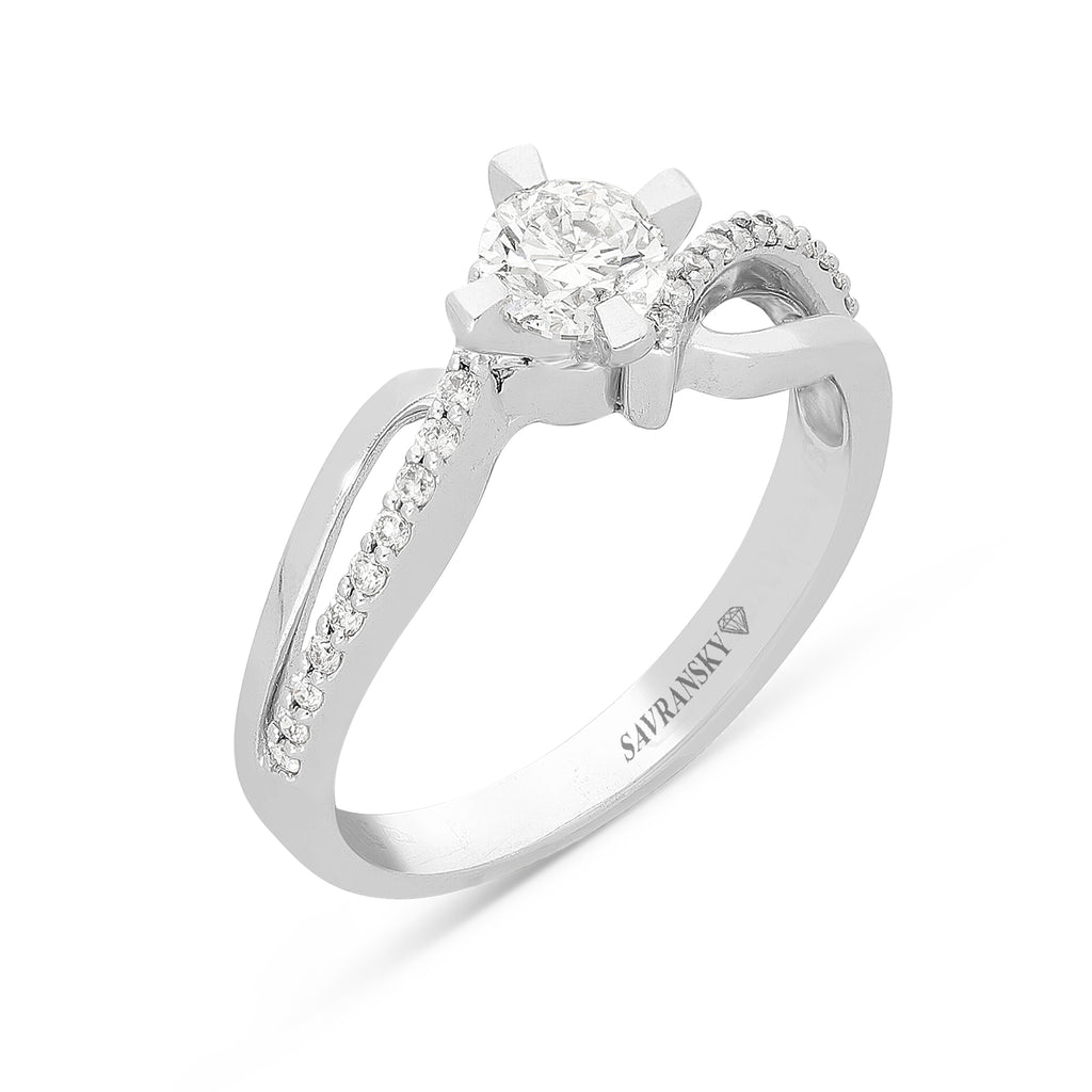 Infinity White Gold Brilliant Cut Diamond Solitaire Engagement Ring