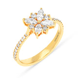 Yellow Gold Cluster Flower Designed Ring