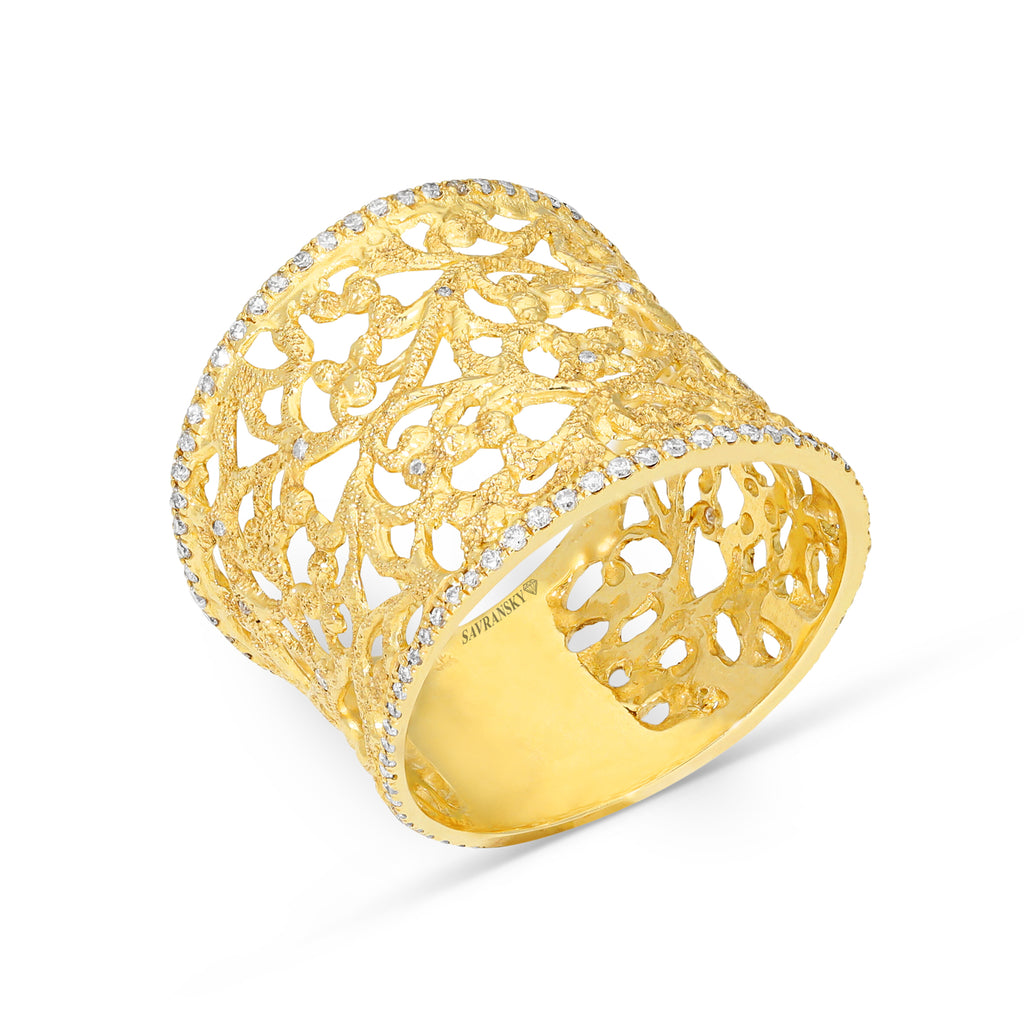 Yellow Gold Filigree Ring Rimmed in Pave Diamonds