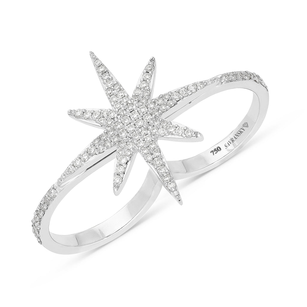 North Star Invisible Pave Diamond Ring