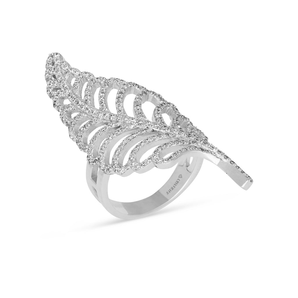 Diamond Pave Curved Leaf Ring