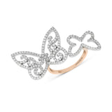 Rose Gold Diamond Open Centered Butterfly Ring
