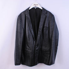 Load image into Gallery viewer, 80's Leather Jacket Navy Blue Overcoat Women's 16