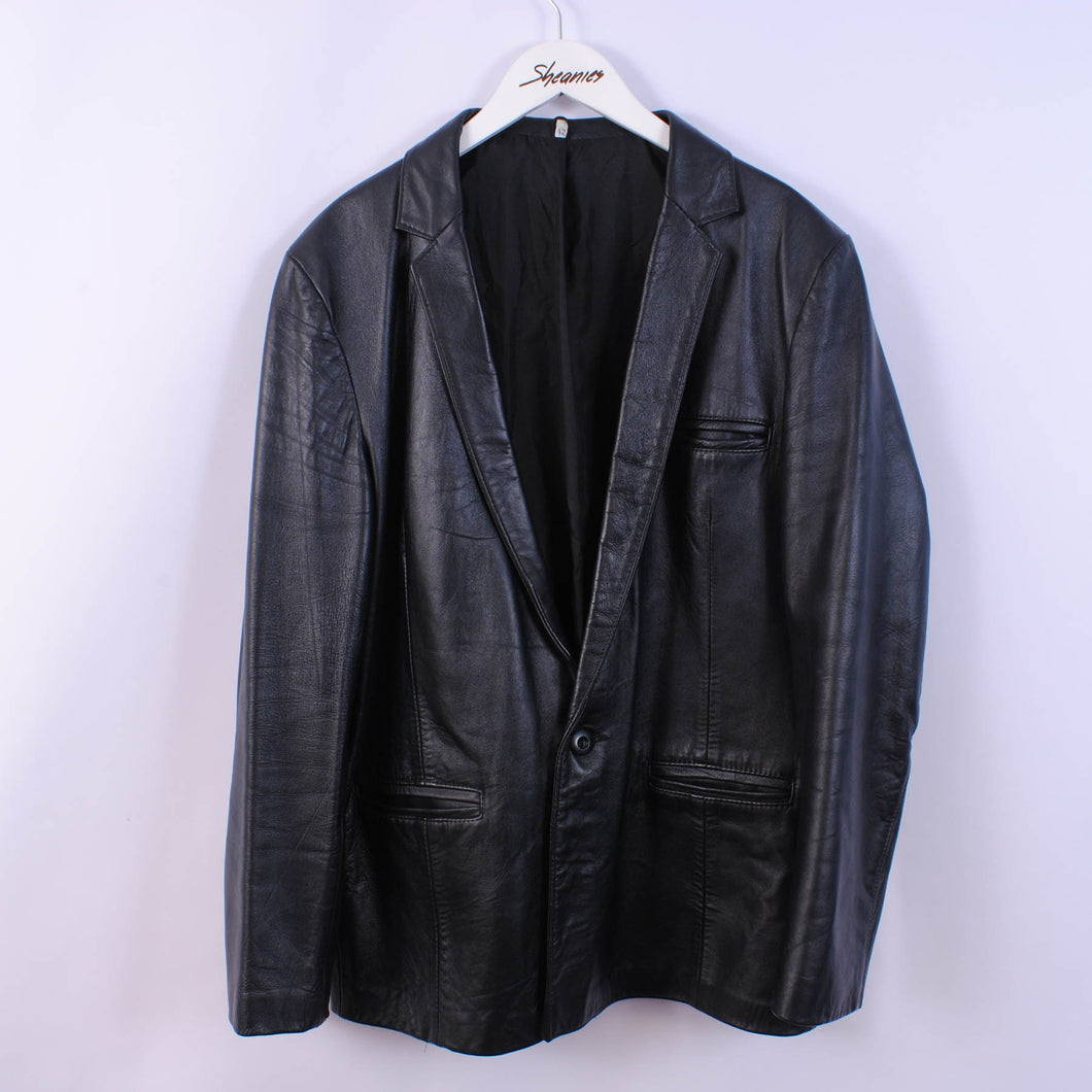 80's Leather Jacket Navy Blue Overcoat Women's 16