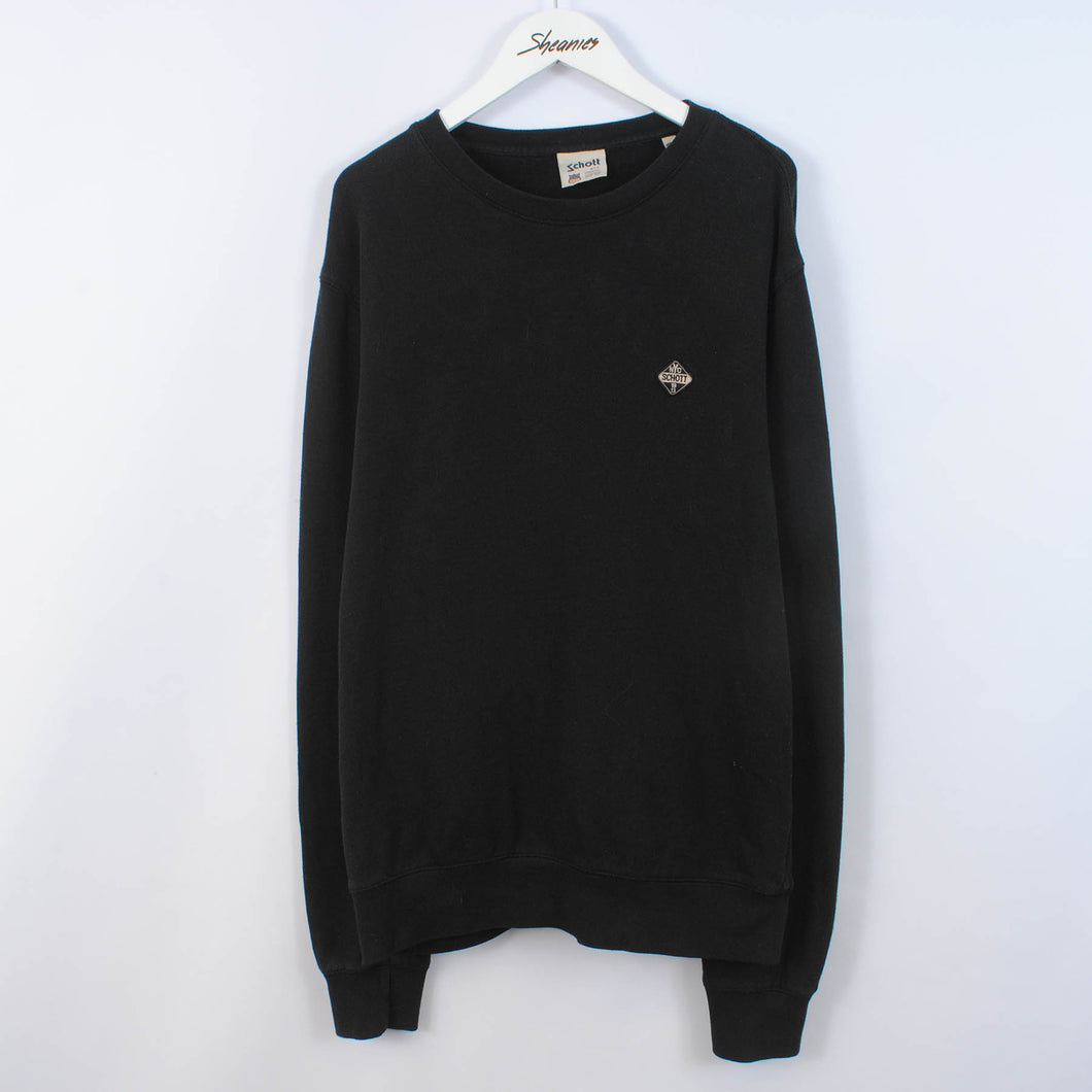 Schott NYC Sweatshirt In Black Size 2XL