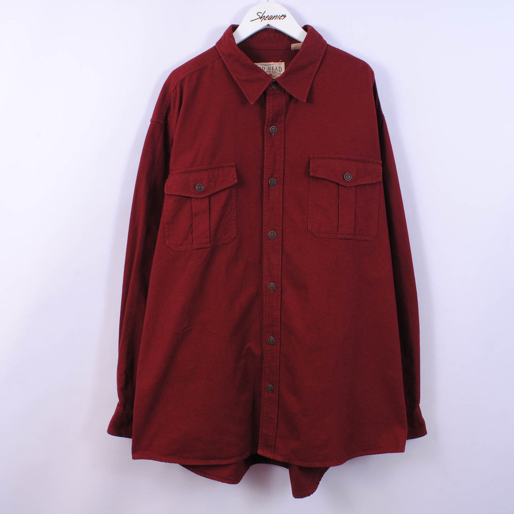 Heavy Flannel Shirt In Red Size 2XL