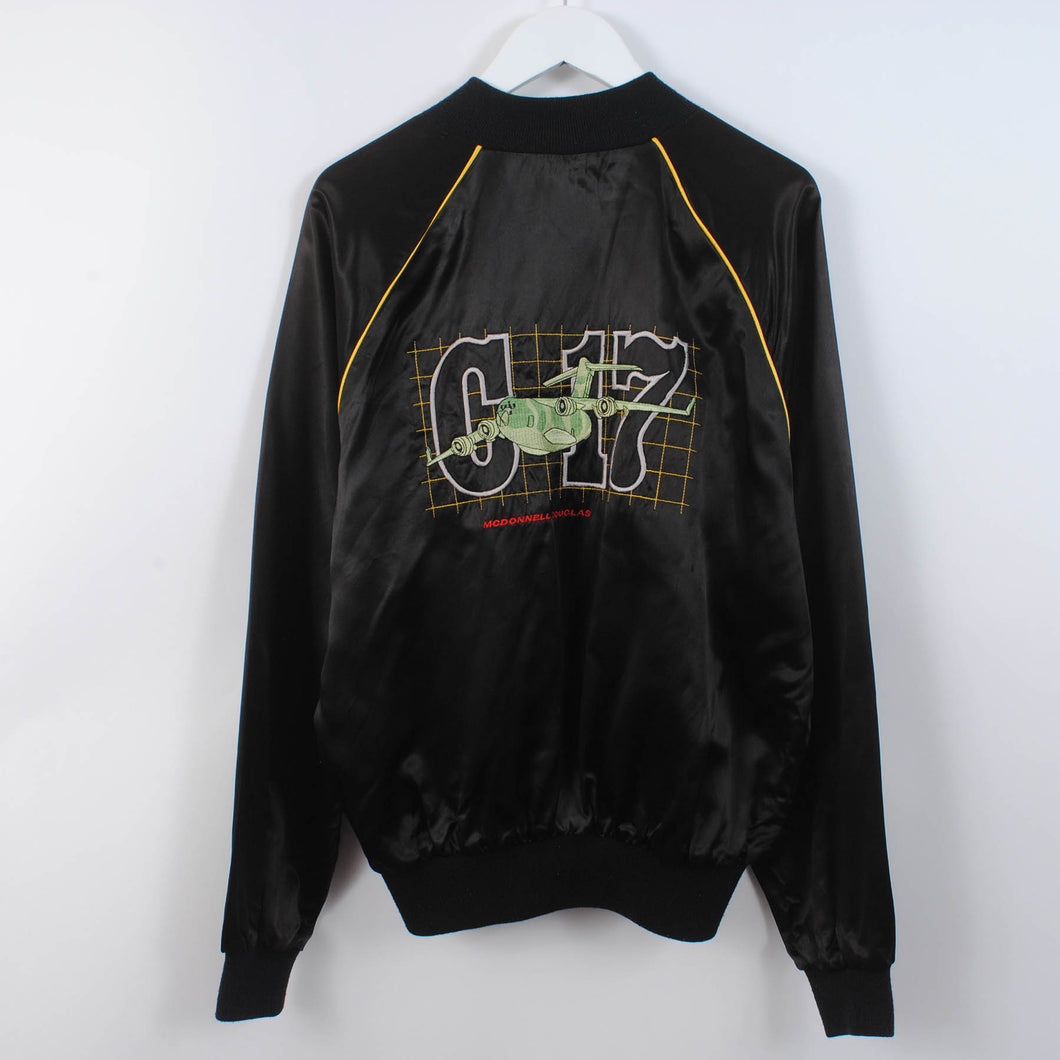 Vintage Embroidered Graphic Satin Bomber Jacket Size M