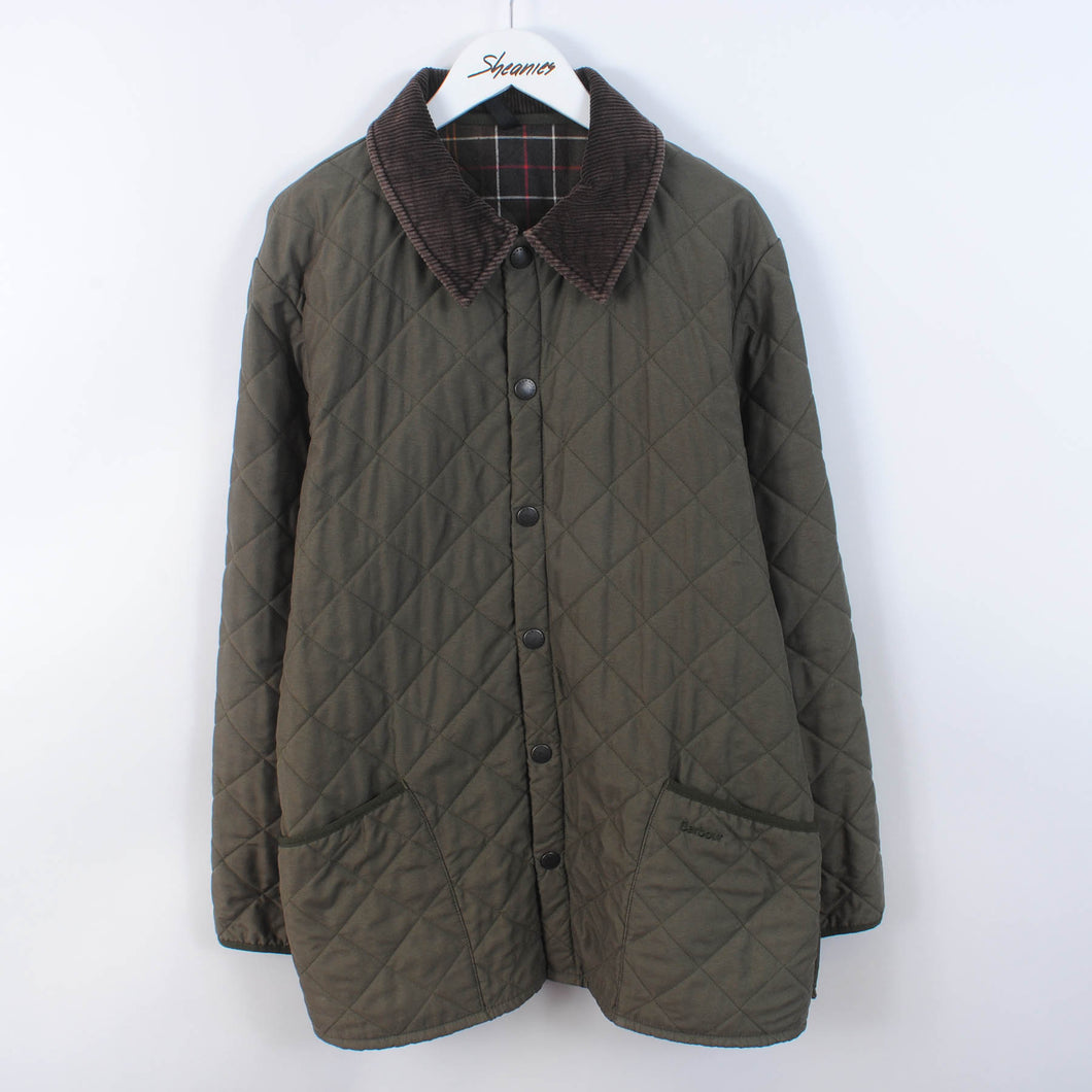 Barbour Quilted Jacket In Green w/ Cord Collar Size M