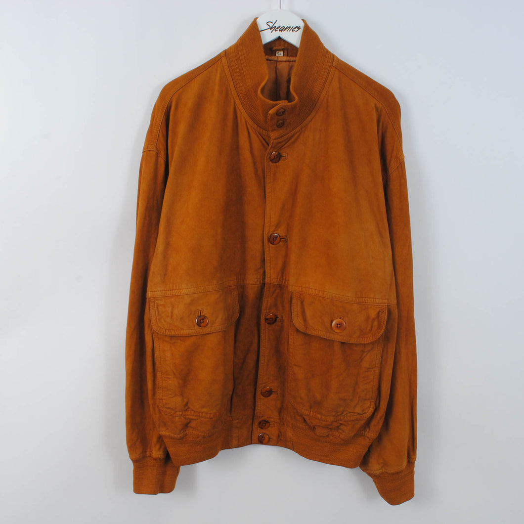 Vintage Suede Bomber Leather Jacket In Brown Size EU 52 - L
