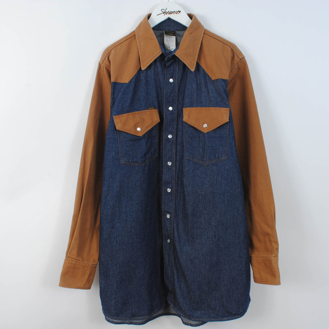 Vintage Duck Canvas & Denim Western Shirt Size L