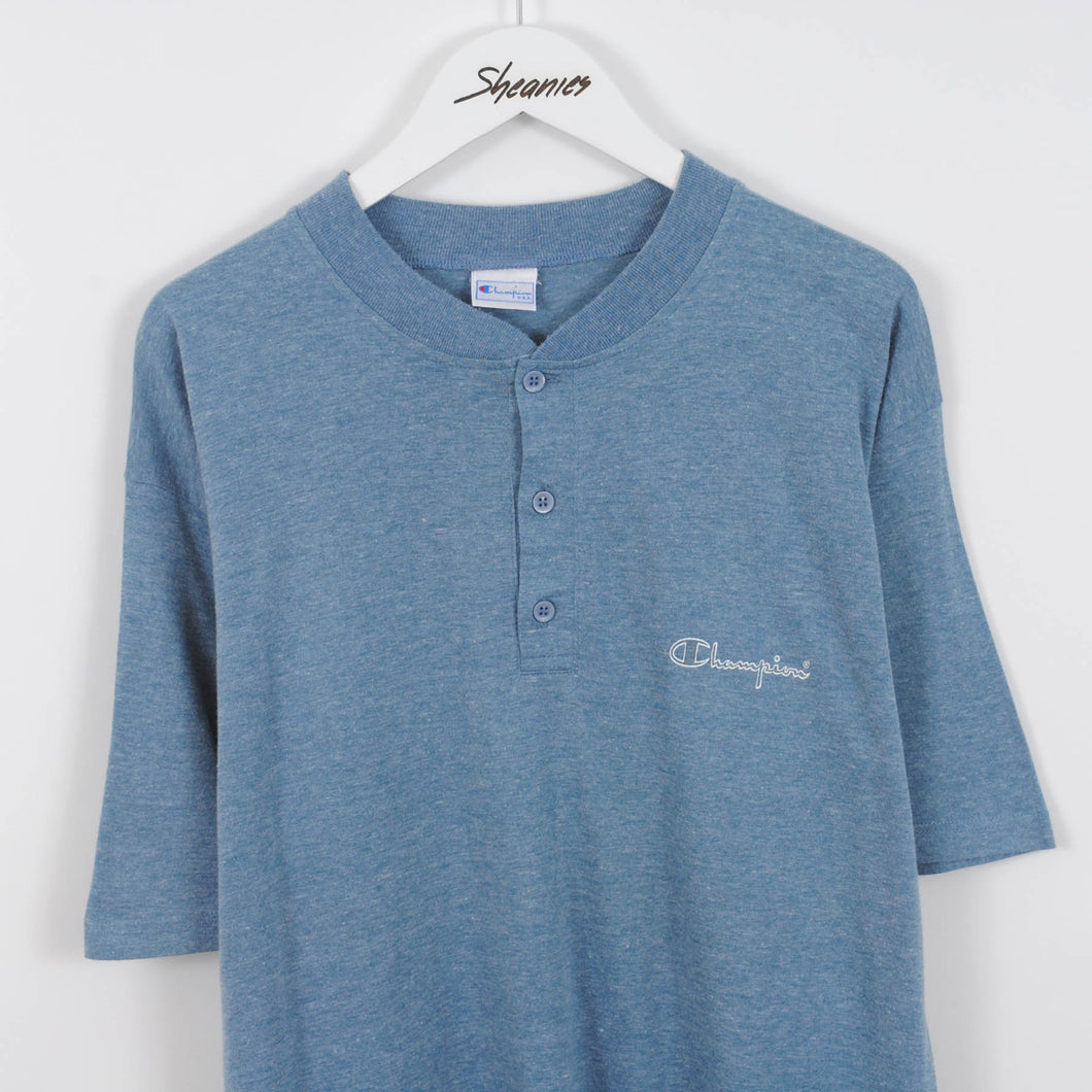 Vintage Champion Grandad Collar T-Shirt in Blue Size L