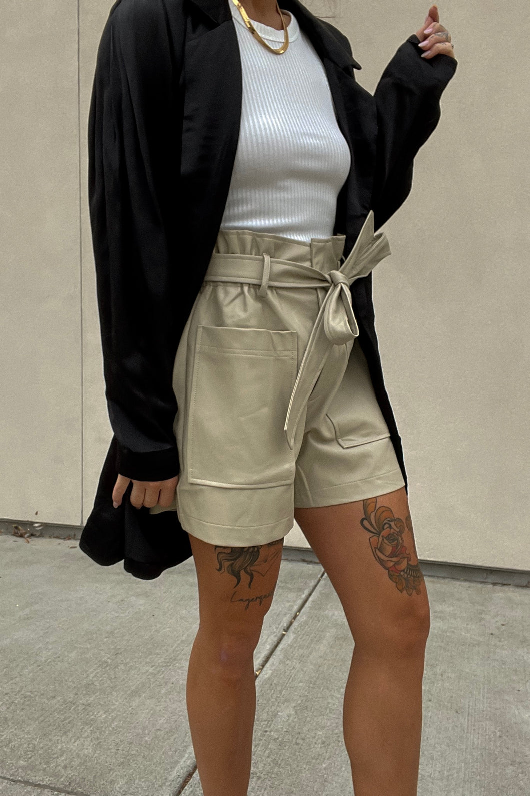 Faux Leather Shorts Taupe