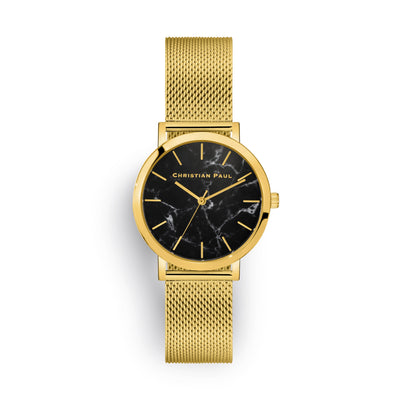 Brighton Marble Mesh 35mm Watch by Christian Paul - Gold / Black | Tesori Bellini | Womens Jewellery Melbourne