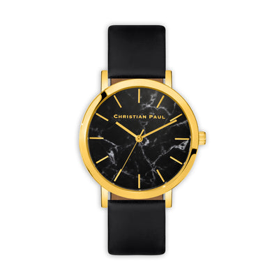 Brighton Marble 43mm Watch by Christian Paul - Gold / Black | Tesori Bellini | Womens Jewellery Melbourne