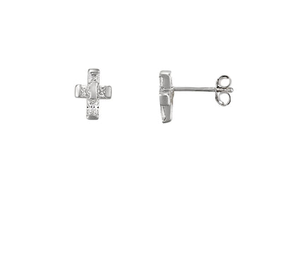 Crystal Cross Fine Lines Stud Earrings | Tesori Bellini | Womens Jewellery Melbourne