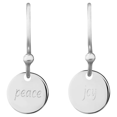 Delicate Message 0.8 Coin Drop Earrings - peace, joy | Tesori Bellini | Womens Jewellery Melbourne