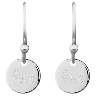 Delicate Message 0.8 Coin Drop Earrings - love, love | Tesori Bellini | Womens Jewellery Melbourne