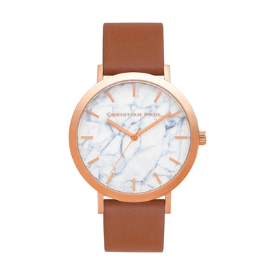 Avalon Marble 43mm Watch by Christian Paul - Rose Gold / Tan | Tesori Bellini | Womens Jewellery Melbourne