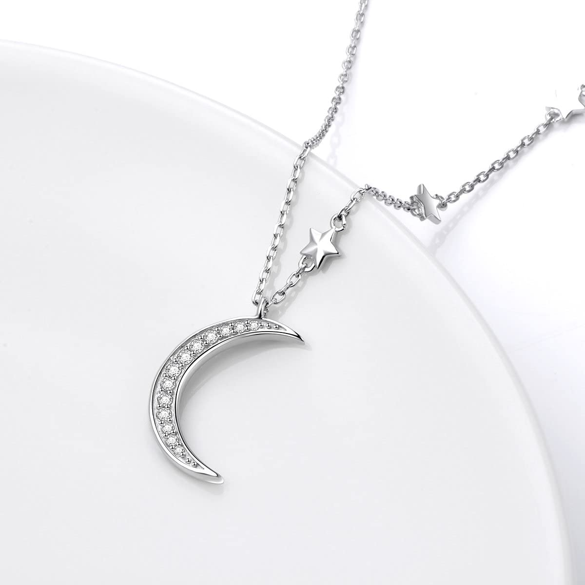 Details about  /Ladies Sterling Silver Cubic Zirconia Star Pattern Locket and Chain R8665//C