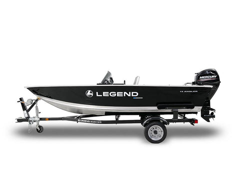 15 Angler with Mercury 25 ELPT 4 Stroke & Glide on Trailer