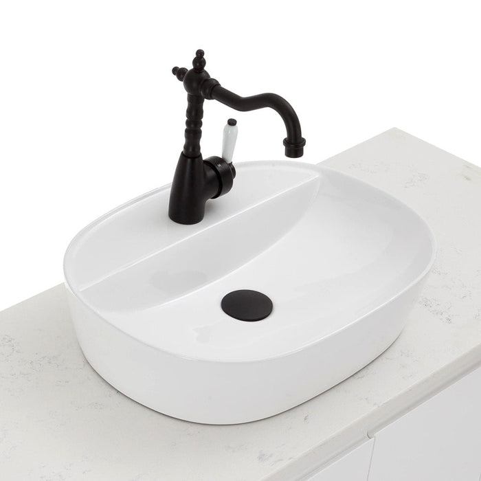 Fienza Eleanor Shepherds Crook Basin Mixer, Matte Black / Ceramic
