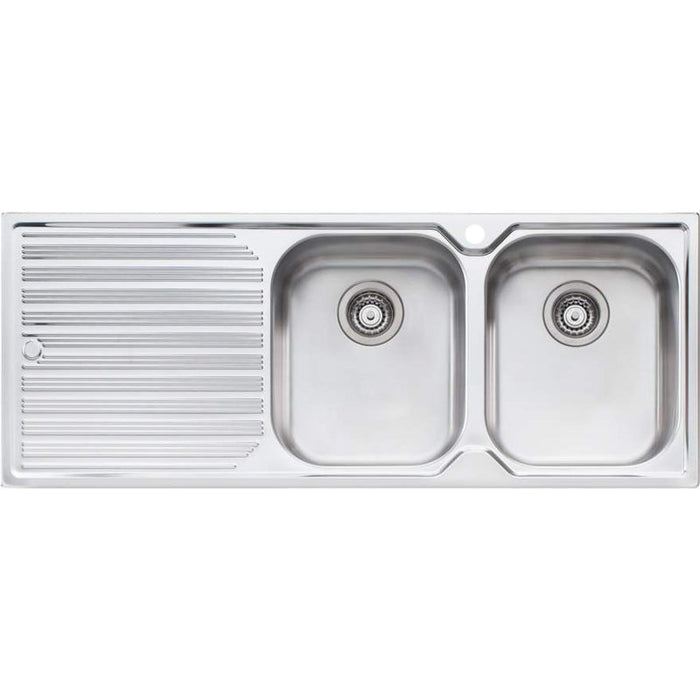 Oliveri Diaz Double Bowl Topmount Sink With Left Hand Drainer