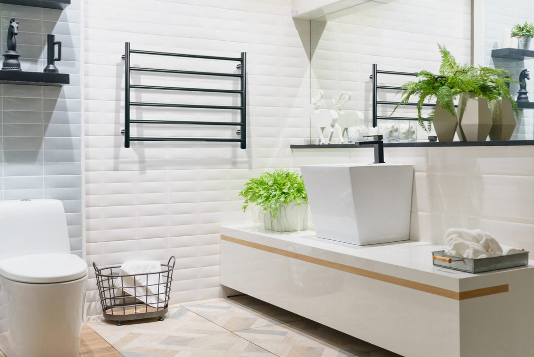 Linsol Allegra Matte Black 6 Bar Wide Heated Towel Rail