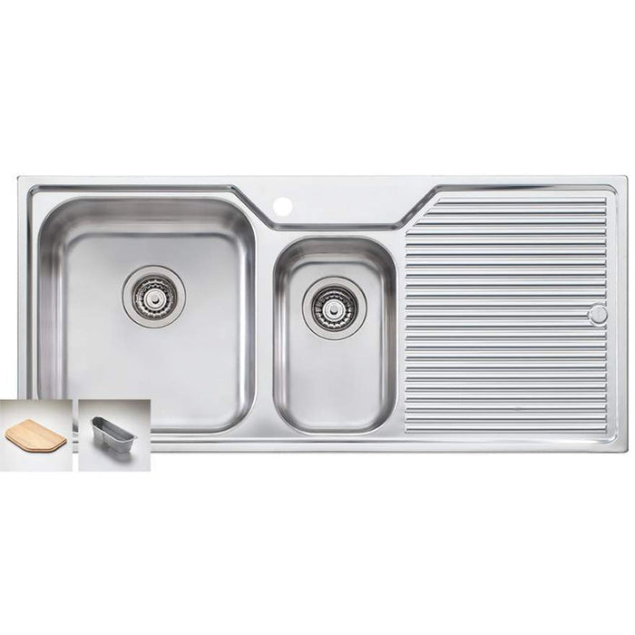 Oliveri Nu-Petite 1 & 1/2 Bowl Topmount Sink With Right Hand Drainer