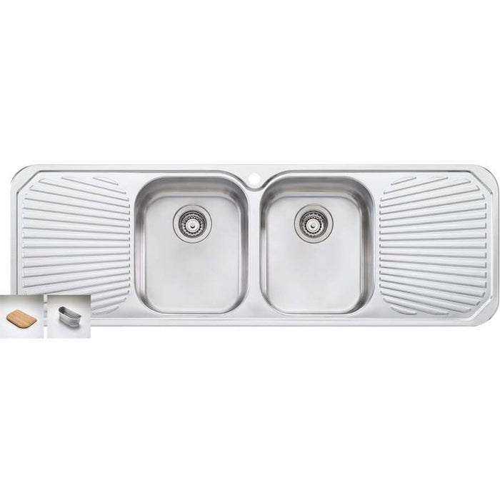 Oliveri Petite Double Bowl Sink With Double Drainer