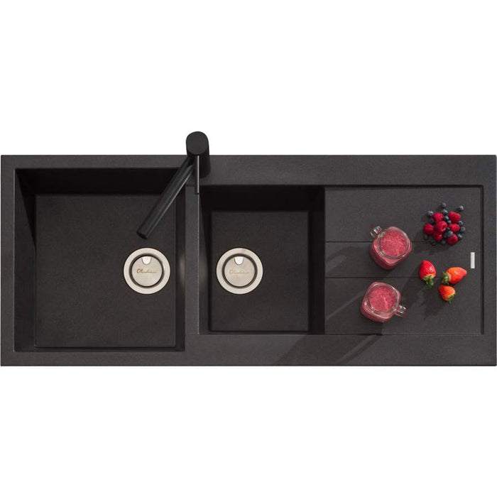 Oliveri Santorini Black 1 & 3/4 Bowl Topmount Sink With Drainer