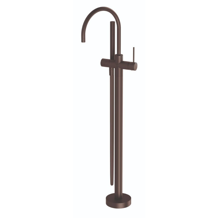 Vivid Slimline Floor Mounted Bath Mixer with Hand Shower Gun Metal