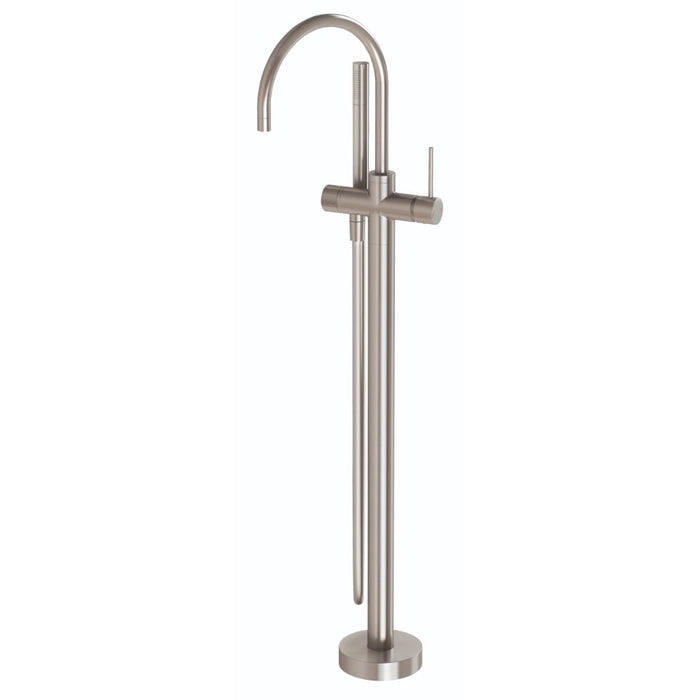 Vivid Slimline Floor Mounted Bath Mixer with Hand Shower Brushed Nickel