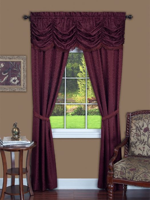 "Achim Home Furnishings - Panache 5 Piece Window Curtain Set - 55"" x 63"" - Burgundy"